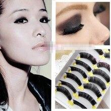 2016 hot sale 10Pairs/box  Hand made Thick false eyelashes Natural Long Thick Cotton Stem Beauty Health Makeup Free shipping