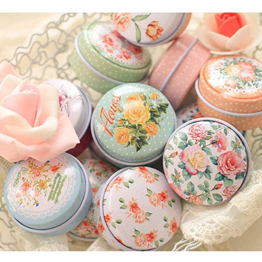 High Cost Performance 48Pcs Macaron Round Tin Storage Box Pure Flower Mac Cosmetics Organizer Tea Candy