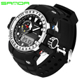 SANDA 399 Automatic waterproof dual display watch Men Fashion Watch top quality mens famous clock army sport wristwatch military
