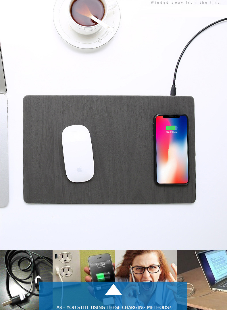 Fast Wireless MousePad Charger,2 in 1 Mouse PadMat Wood With Wireless Charger for iPhone X 8 7 Samsung Note 8S9S8 Qi Charger (1)