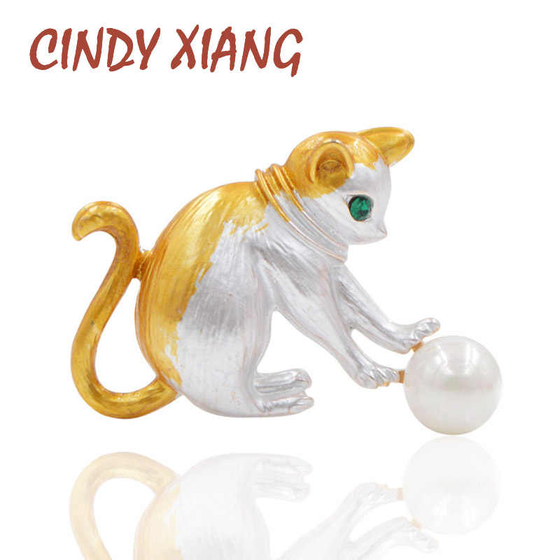 Cindy Xiang Bermain Bola Kucing Bros Enamel Kitty Permainan Hewan Bros untuk Wanita Anak-anak Perhiasan Mata Hijau Kecil Pin Fashion Baru 2018 Gaya