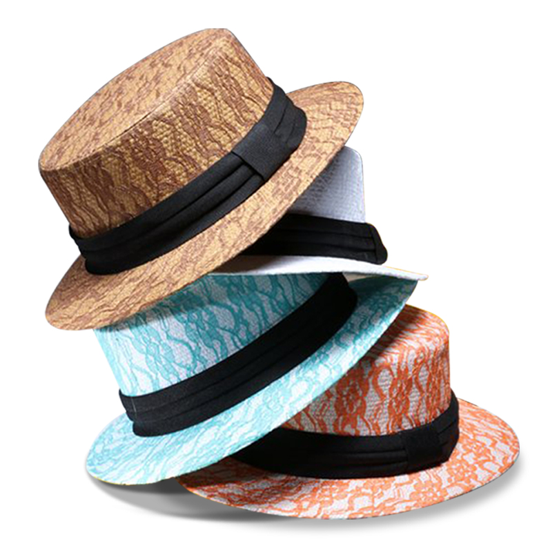 7773e841e56 dropshipping summer lace flower sun hats for women wide brim girls beach  hats Ribbon Round Flat Top Straw hat Panama Hat -in Sun Hats from Apparel  ...