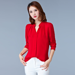 2017 new spring and summer blusas large size ladies v neck red font b shirts b.jpg 250x250