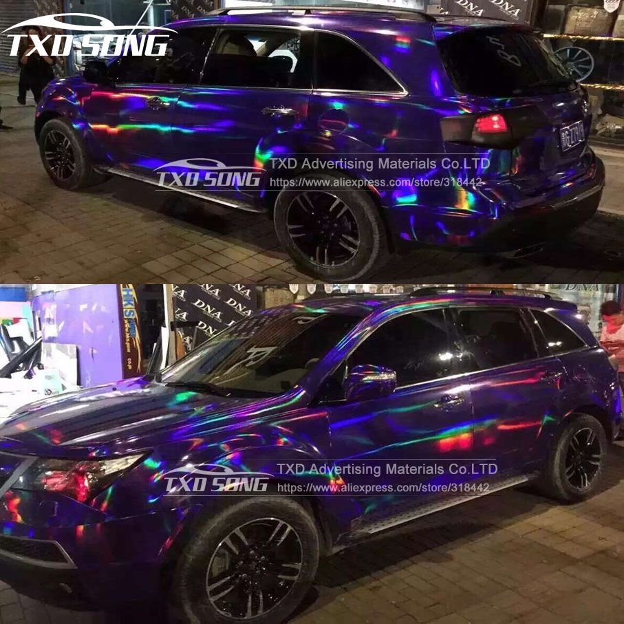 Us 4 41 15 Off 20x49cm Lot Premium 3 Layers Rainbow Purple Chrome Holographic Vinyl Wrapping Film Bubble Free For Car Wrapping In Car Stickers From
