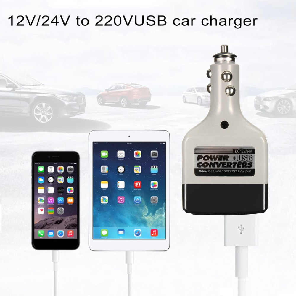 New DC 12/24V To AC 220V USB Car Mobile Power Inverter Adapter Auto Car Power Converter Charger Used For All Mobile Phones