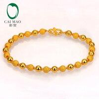 CAIMAO 24 к чистый 999 Золото Подлинная Stardust текстуры и простые шары блестящие тонкой обручение браслет подарок Модная классика Вечерние