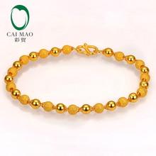 все цены на CAIMAO 24K Pure 999 Gold Genuine Stardust Texture and Plain Balls Sparkly Fine Engagement Bracelet Gift Trendy Classic Party онлайн