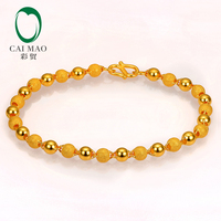 CAIMAO 24K Pure 999 Gold Genuine Stardust Texture and Plain Balls Sparkly Fine Engagement Bracelet Gift Trendy Classic Party