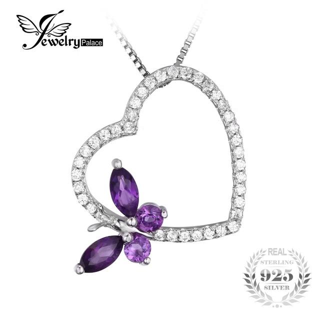 Jewelrypalace 0.7ct natural roxo ametista topázio branco do coração da borboleta pingente 925 jóias de prata esterlina não inclui uma cadeia