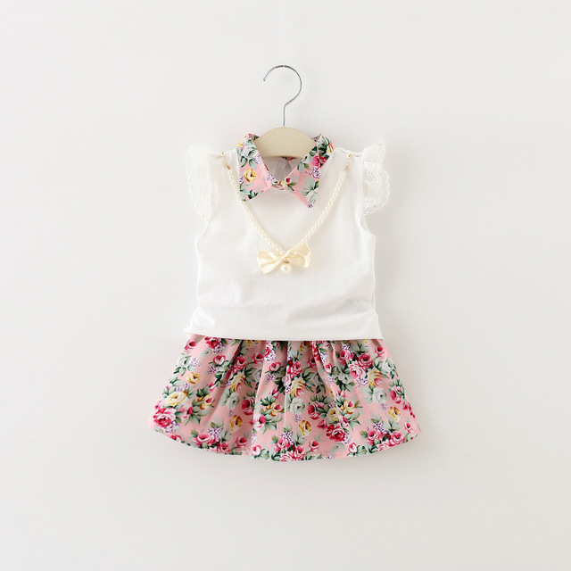 2016 Hot sales summer baby girl dress short sleeves T-shirt +Broken flower skirt Clothing Set children Casual clothes