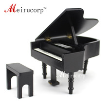 Фотография dollhouse 1/12 Scale Miniatures Musical Instrument Wooden black piano and stool
