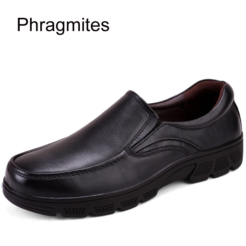 Phragmites Formal Business Work Soft Patent Leather Grandfather Shoes Warm Flat Soft Dress Shoes Plus Size