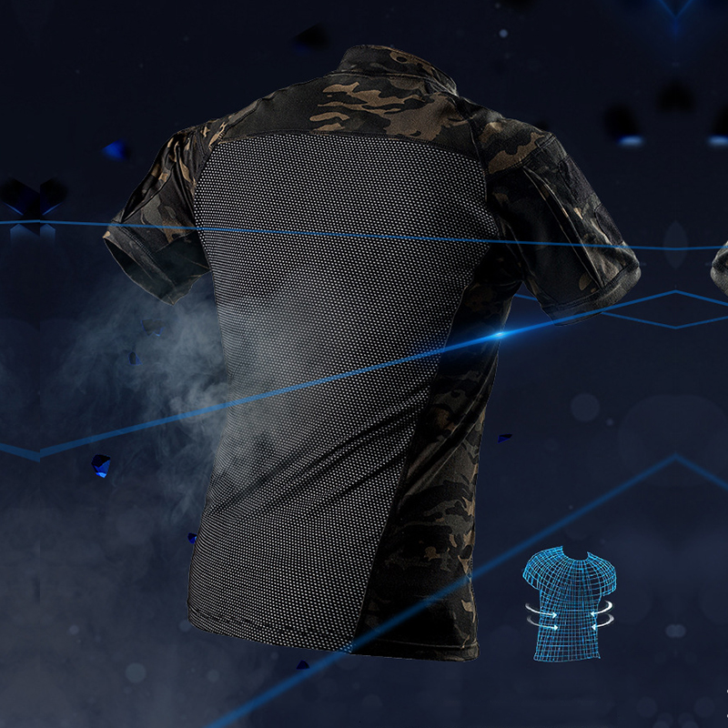 Men Military T shirt Army Combat Frog Airsofts Uniform Short Sleeve Breathable Tactical Tops Shirt Camouflage Tactical Clothing in Hunting Ghillie Suits from Sports Entertainment
