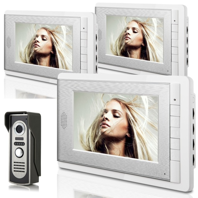 "Video Door Phone 7"" Color Screen 3 Silver Monitors Intercom System with 1 Night Vision Doorbell Camera for access control"