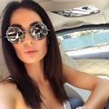 2017 Sin Montura gafas de Sol rhinestone Redondo Mujeres de La Vendimia Gafas de Sol para Damas Retro de Cristal o Mujeres gafas de sol feminino D