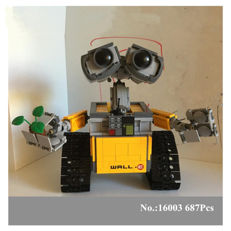 IN STOCK H&HXY 687pcs free shipping New 16003 Idea Robot WALL E Lepin Building Set Kits Bricks Blocks Compatible with 21303 36 5 led flashlight work light inspection lamp hand tool garage torch magnet hook camping pocket work lamp inspection lights