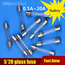 100pcs/lot Fast-blow Glass Fuse Assortment Kit 5*20mm 250V 0.1A 0.2A 0.5A 1A 2A 3A 4A 5A 6A 8A 10A 15A 20A 25A 30A AMP Fuse Tube цена 2017