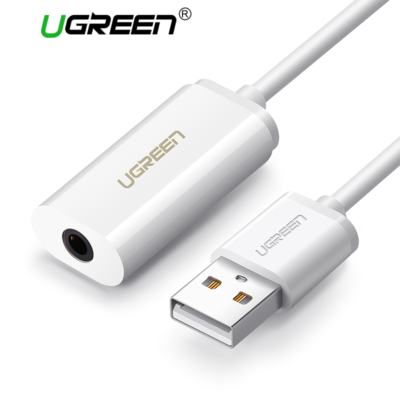 Ugreen 2-in-1 External <font><b>Sound</b></font> Card 3.5mm USB Adapter Audio Interface for iPhone EarPods Earphone Cable Computer USB <font><b>Sound</b></font> Card