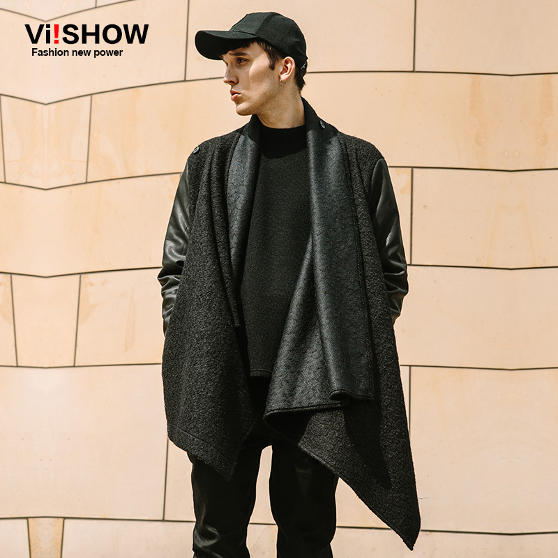 2baee9bd7b VIISHOW Tide Brand Clothing trench coat men shawl collar mens overcoat Fashion  Street coat trench homme Patchwork sleeve outwear-in Trench from Men s ...