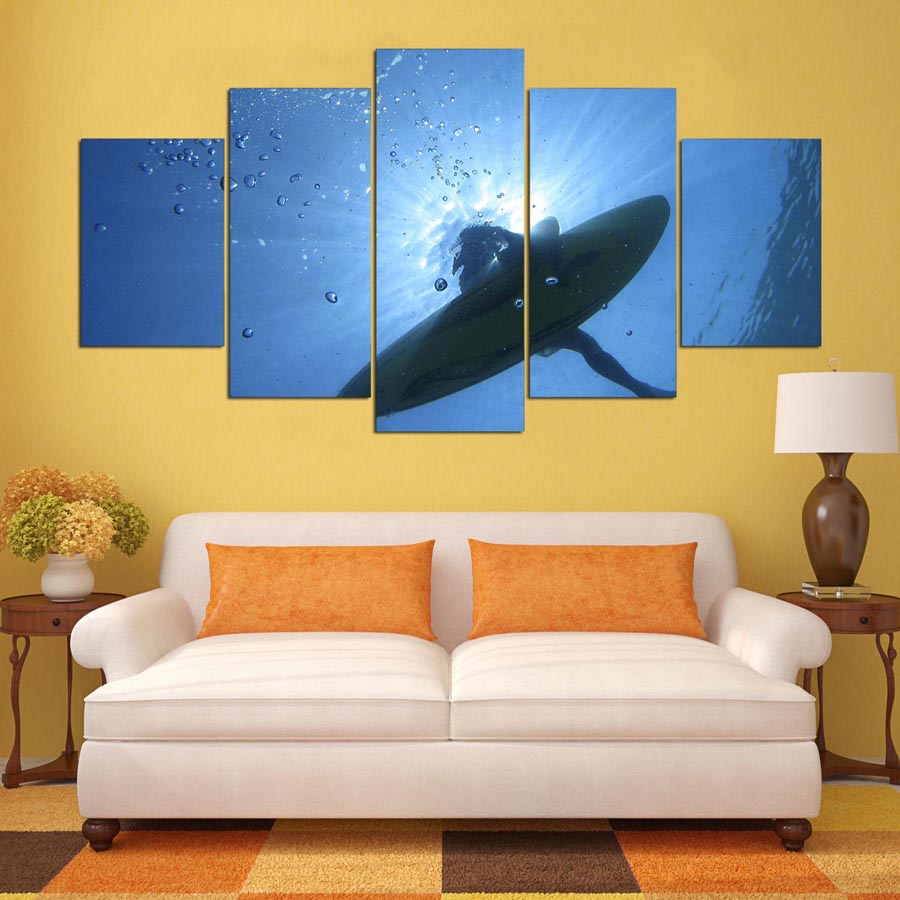 Poster HD Printed Painting 5 Panel Spaceship Landscape Print ...
