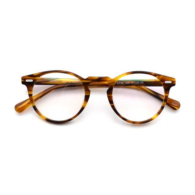 Vintage النظارات البصرية الإطار غريغوري بيك الرجعية النظارات المستديرة للرجال والنساء نظارات أسيتات إطارات