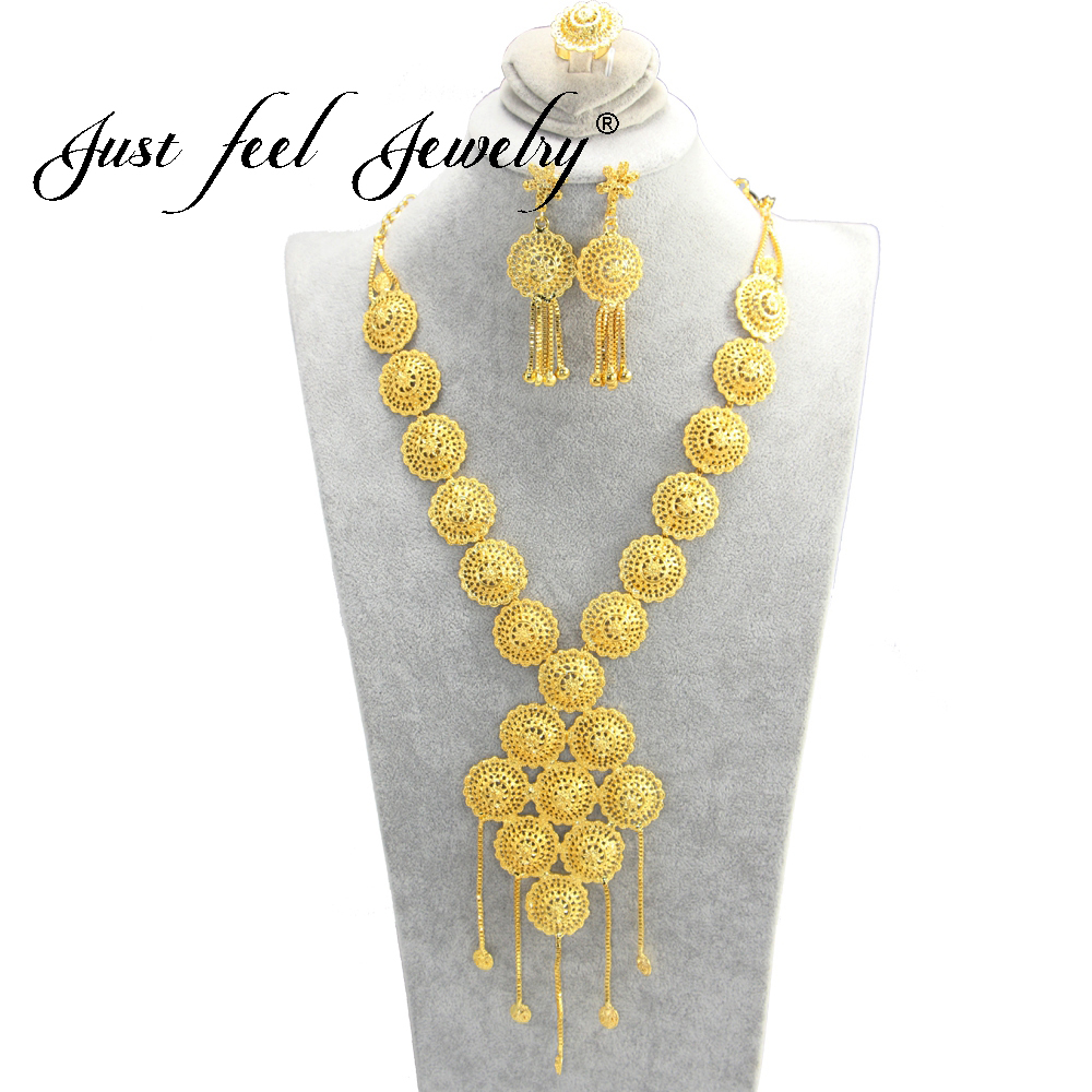 JUST FEEL Arab Gold Color Jewelry Sets Geometric Tassel Necklace Earrings Rings Round African/Middle East Party Jewelry Gifts цена 2017