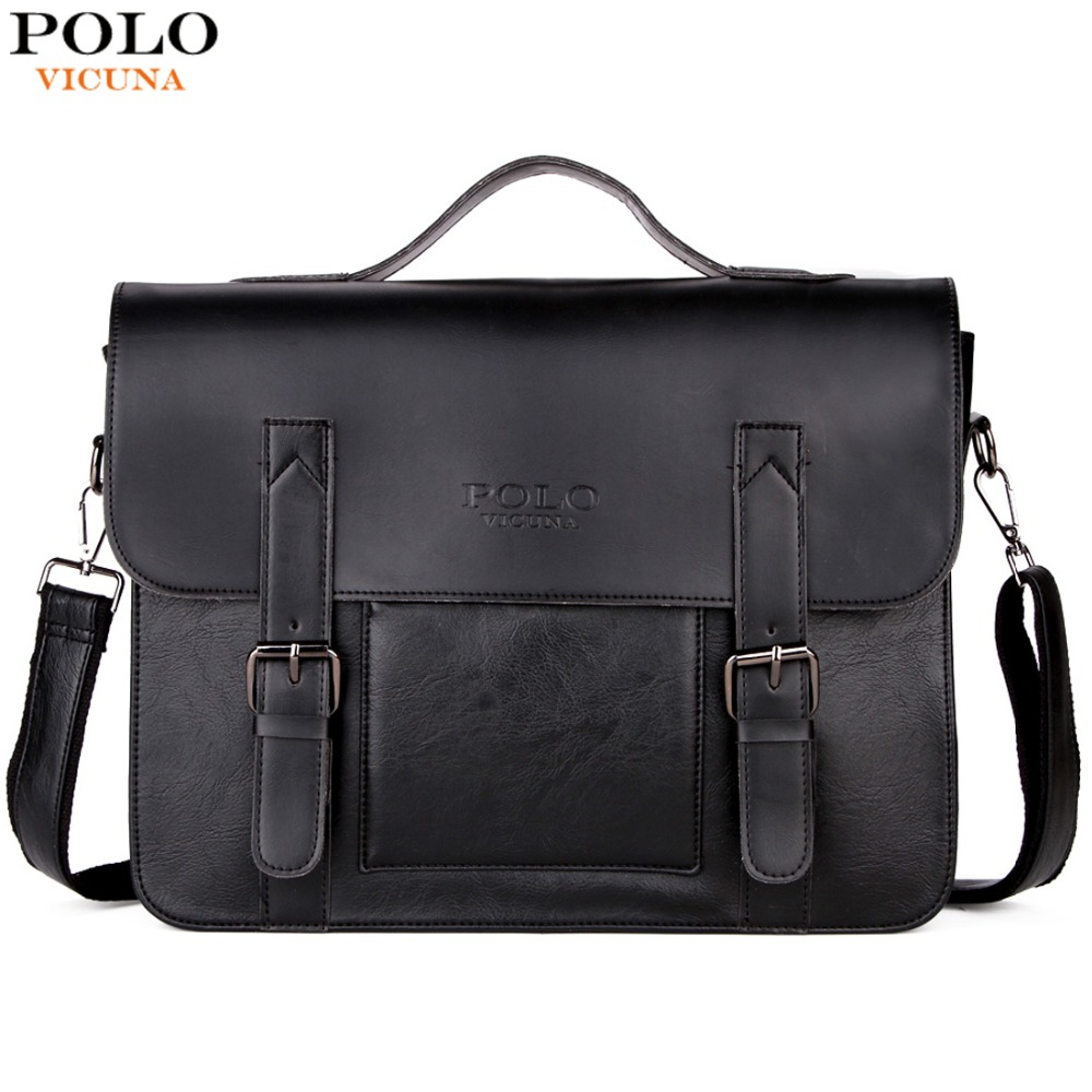 цена на VICUNA POLO Business Men Bag Double Belt Decor Brand OL Leather Men Briefcase Bag lawyer Doucument Bag maletines para hombres