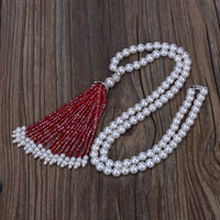 pearl chain thick wine red glass beads and pearl beaded shaded tassel silver cz crown cap ball charm pendant necklace for women
