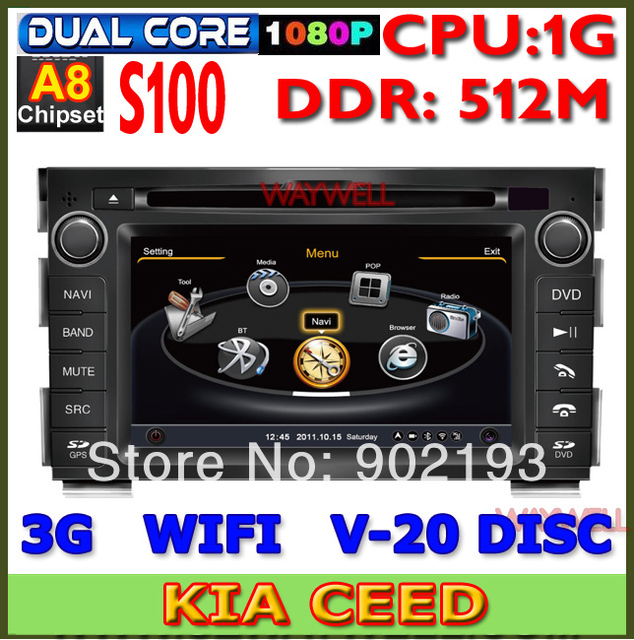 KIA CEED VENGA CAR radio taper recorder DVD 2010-2011 with GPS Bluetooth rear view camera with 3G in russian language