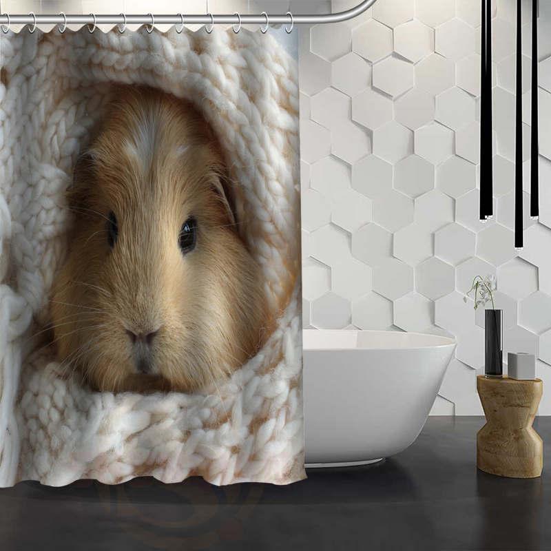 Hot Sale Custom Cute guinea pig animal Shower Curtain Waterproof Fabric Shower Curtain for Bathroom F#Y1-17