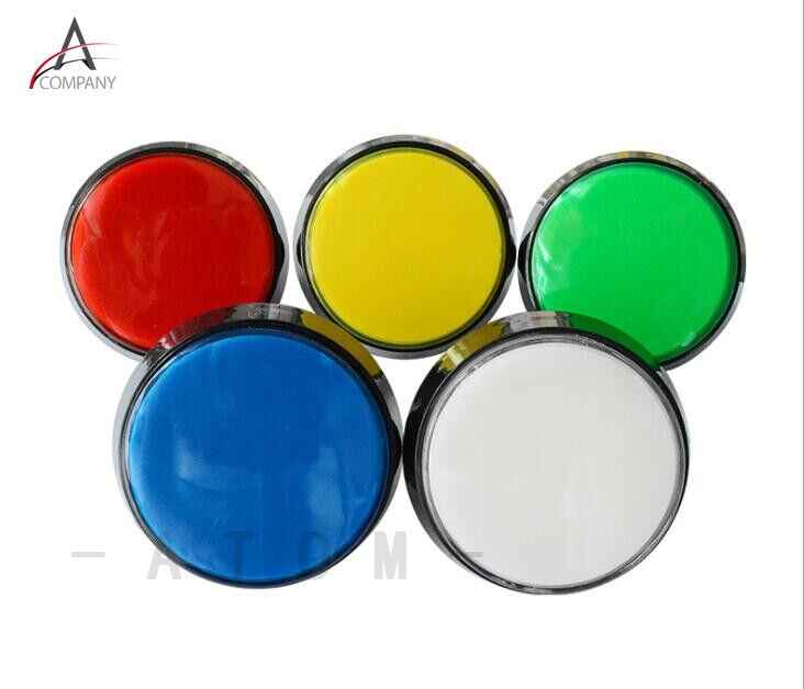 Arcade Button 5 Colors LED Light Lamp 60MM  Big Round Arcade Video Game Player Push Button Switch