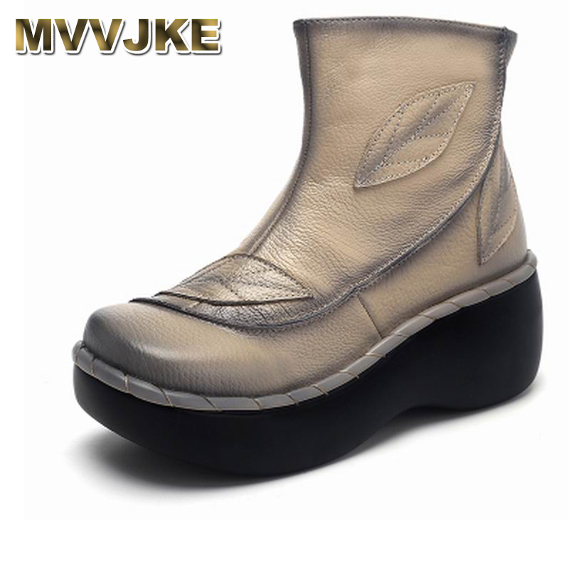 MVVJKE Genuine Leather Women Boots 2018 Spring Autumn Fashion Sewing 6cm Thick Sole Boots with Platform