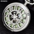 Fob relógios de bolso antigo homens relógios mecânicos esqueleto marca boamigo arbic número relógios de prata projeto relógio reloj hombre