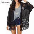 Missomo 2017 New Fashion Women Casual Long Sleeve Patchwork Chiffon Cardigan Black Lace Sheer Mesh Kimono Slim Long Cardigan