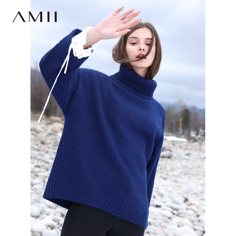 Amii Minimalist Women Turtleneck Pullover Sweater Winter 2019 Causal Solid Thick Loose Warm Female Knitted Sweater