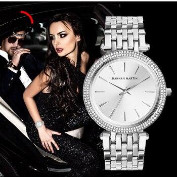 Relojes de pulsera para mujer, marca de lujo, relojes de pulsera de acero plateado para mujer, reloj femenino con diamantes de imitación a la moda