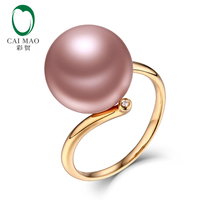 New collection 18k Yellow Gold precious 12 13mm Round Freshwater Pearl Ring 0.04ct Natural Diamond manufacturer