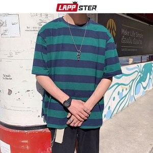 LAPPSTER Мужская Уличная полосатая футболка 2020 Летняя мужская забавная хип-хоп свободная футболка Мужские Винтажные модные футболки повседневные желтые Топы