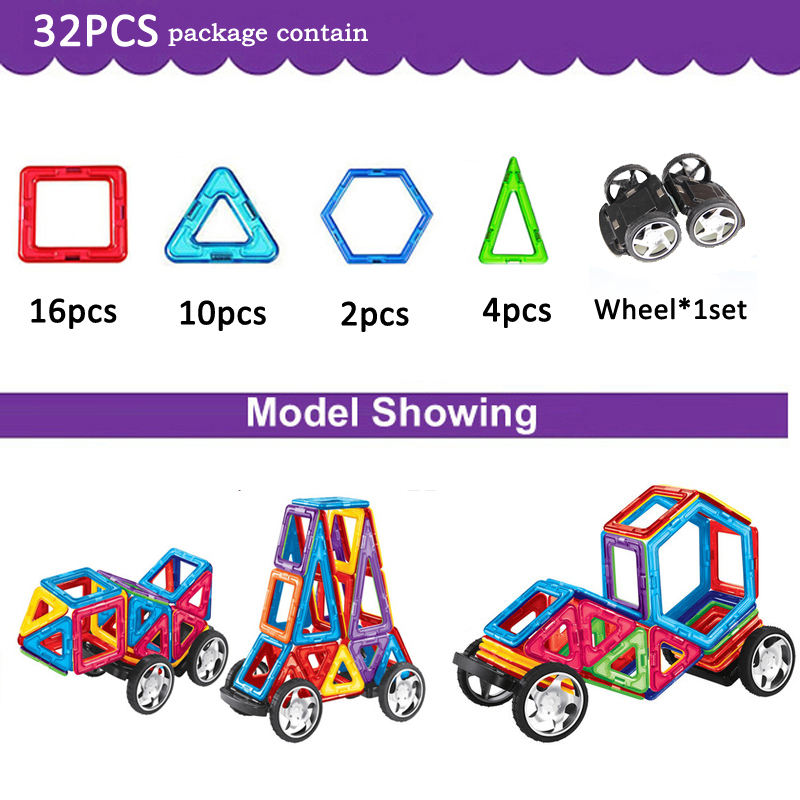 32Pieces Magnetic Blocks Toy Kids Educational Toys Creative Bricks Toy For Children 3D DIY Building Magnetic Toy Blocks Set kids toys educational toys solar shaking toy for children physics science building blocks set solar toy box blocks bricks