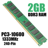 1pcs 2GB DDR3 PC3 10600 1333MHz Desktop DIMM Memory RAM 240 Pins For Multiple System High
