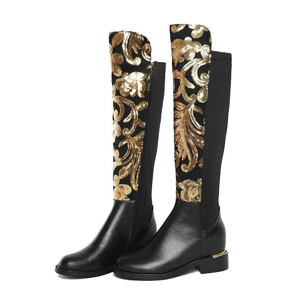 2019 ฤดูหนาวรองเท้าขนาดใหญ่หนายี่ห้อ glitter ผู้หญิงเข่าสูงรองเท้าอุ่นฤดูหนาวรองเท้าหนังวัวต้นขาสูงรองเท้า