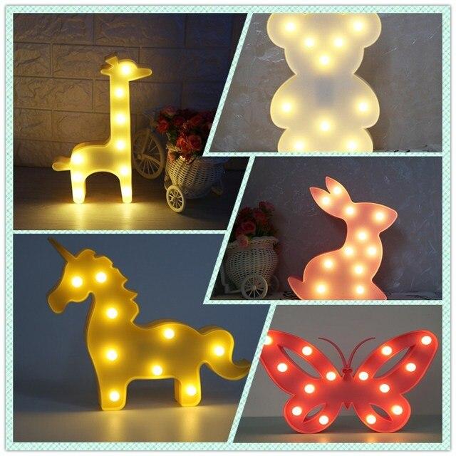 1 Pcs Led Licorne Lampe Night Light Belle Ours Animal Chaud Blanc