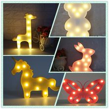 1pcs LED Unicorn Lamp Night Light Lovely Bear Animal Warm White Table Lamp Marquee LED Light for Children Room Decorations(China)