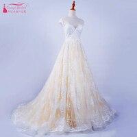 Blush Champagne Ren Aline Wedding Dresses Sheer Cổ 2018 Country 1920'S Cổ Điển Dubai Ả Rập Vestido De Noiva ZW005