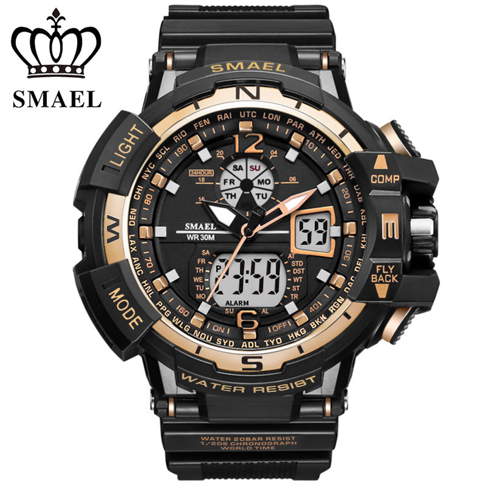 f85ce6690e3 Top Brand Cool Gold Mens Fashion Large Face LED G S-Shock Digital Swimming  Climbing