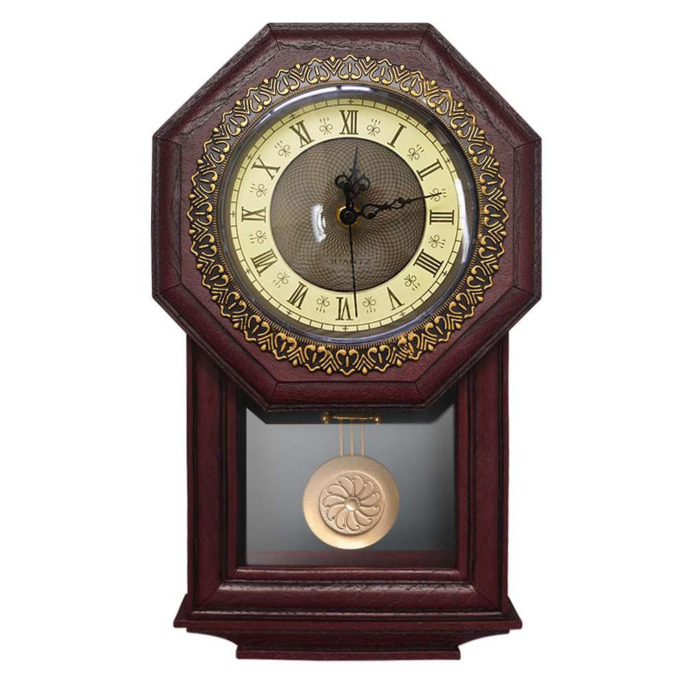 Giftgarden Vintage Wall Clock Pendulum Antique Style Roman Numerals Grandfather Clock Home Decoration Accessories Number Clock