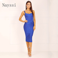 Nayssi 2019 Bandage Dress Mid Calf New Arrival Spaghetti Strap Sweetheart V Neck Sexy Lady Long Celebrity Bodycon Party Dress