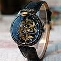 Excelente Qualidade de Aço Inoxidável dos homens Novos da Marca Relógios Mecânicos Automáticos Oco Esqueleto do Relógio de Pulso