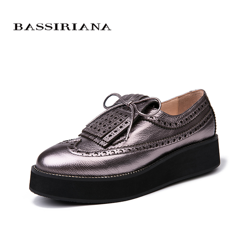 BASSIRIANA New Women Flats basic shoes Genuine Leather Round Toe Casual shoes woman Spring Autumn Size 35-40 Free shipping free shipping women fashion genuine leather shoes spring pearl casual shoes lacing japanned leather shoes size 35 40
