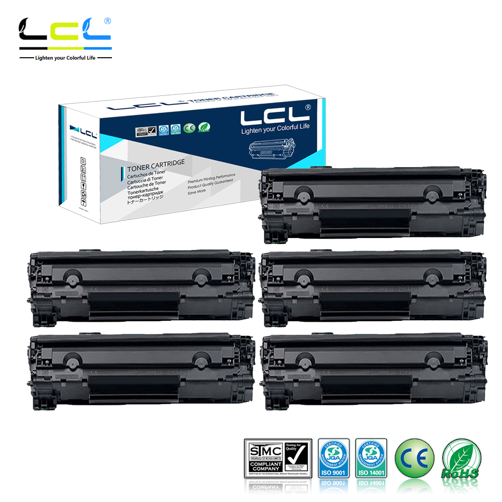LCL CRG725 CRG-725 CRG 725 (5-Pack Black) 1600 Pages Laser Toner Cartridge Compatible for Canon MF3010/6018/6020/6000